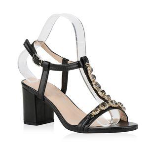 Mytrendshoe Damen Sandaletten Riemchensandaletten Metallic Party Schuhe Strass 831203, Farbe: Schwarz, Größe: 39