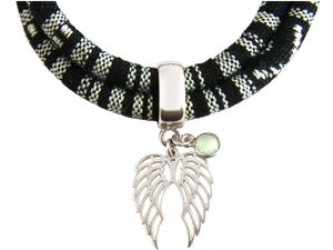 Damen Armband Wickelarmband 925 Silber Doppelflügel Engel AZTEC Chalcedon Meeresgrün