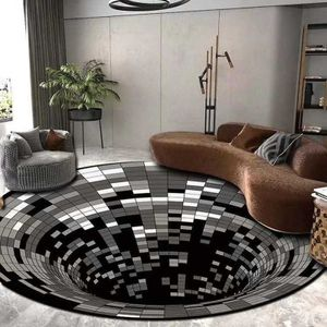 3D Teppich ,Optische Täuschung ,3D Teppich rund,3D Visual Illusion Rutschfester Teppich,Schwarzweiß-Stereo-Sichtmatte, (100 x 100 cm)