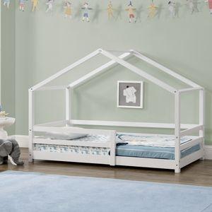 Kinderbett mit Rausfallschutz 90x200 cm Bettenhaus Hausbett Weiß [en.casa]