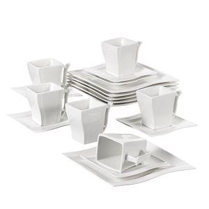 MALACASA, Serie Flora, 18 Tlg . Set Cremeweiß Porzellan Kaffeeservice Geschirrset mit je 6 Kuchenteller, 6 Tasse 220ml, 6 Untertasse für 6 Personen