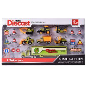 TE-Trend Baustelle Baustellenfahrzeuge LKW Bagger Kinder Spielzeug Fahrzeuge Auto Set 19 Teile Zubehör Schilder Pylonen Grün Mehrfarbig