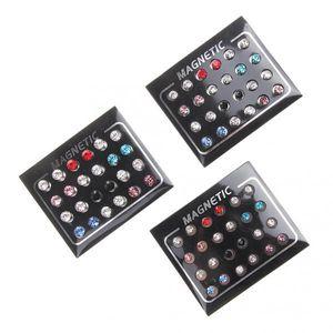 24 Pairs Kristall Edelstahl Magnetische Ohrringe Set für Männer Frauen