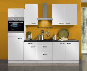 Küchenblock Lagos 270 cm mit Einbauspüle ohne Elektrogeräte in weiß glänzend