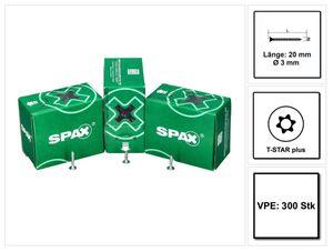 SPAX Flachrückwandkopf Schraube 3,0 x 20 mm 300 Stk. ( 0151010300203 ) Torx T-STAR Plus T10 für Rückwände ohne Linse Vollgewinde Wirox 4Cut