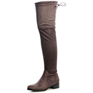 topschuhe24 1537 Damen Stiefel Overknee Plateau Velours, Farbe:Miami Grau, Größe:37 EU