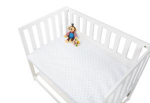 Spannbetttücher für Wiegen, Anstellbettchen und Kinderwagen im Doppelpack  'Sternchen', Jersey, rosa und Uni, weiß