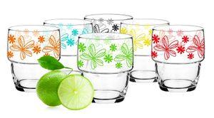 6 Stapelbare Trinkgläser 250ml Saftglas Wasserglas mit Blumen-Motiv