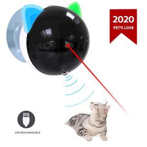 Automatische Katzenspielzeug USB wiederaufladbare Red Dot LED Pointer rotierenden beweglichen elektronischen Stift LED-Licht interaktive Katze Chase Spielzeug