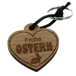 """Holz-Schlüsselanhänger Herz """"Frohe Ostern"""""""