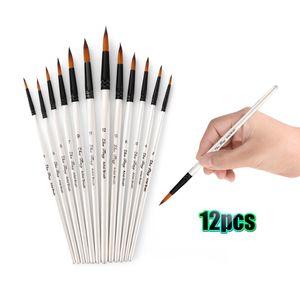 Professionelle Pinsel Set Nylon Haar Pinsel Feine Detail Aquarell Öl Acrylfarbe Packung 12 stücke Kunst Malerei Lieferungen