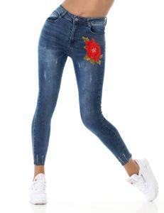 Skinny Röhren Jeans im High Waist-Style mit Blumen-Stickerei, Farbe: Blau, Größe: 34