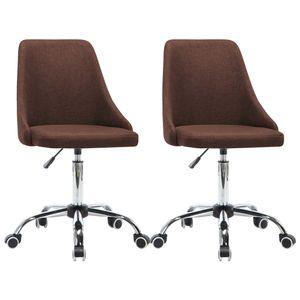 Bürostühle Schreibtischstuhl Chefsessel 2 Stk. Stoff Braun