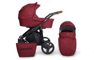 Kinderwagen ROTAX Sportwagen Babywagen Babyschale Komplettset Kinder Wagen Set 2 in 1 (Weinrot, Rahmenfarbe: Schwarz)