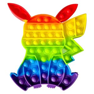 Pop it Pop Up!! Autismus Besondere Bedürfnisse Stressabbau Regenbogen Silikon Pikachu Extrusion Blase Zappeln Sinnesspielzeug(B)