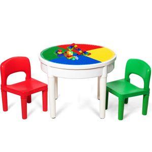 COSTWAY Kinder Tischset mit Staufach, Sitzgruppe Kinder, 3tlg. Kindersitzgruppe, Spieltischset bestehend aus 2 Stuuehlen und 300 kleinen Bloecken, Bausteintisch fuer Kinder ab 3 Jahren, Mehrfarbig