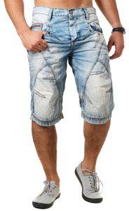 Cipo & Baxx Herren Jeans Shorts Bermuda kurze Hose mit trendigen Kontrastnähten Vintage Look Waschung C-0090 , Grösse:W40, Farbe:Blau