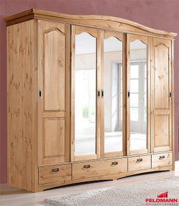 Kleiderschrank Schlafzimmerschrank Kiefer massiv natur 249cm 5-türig