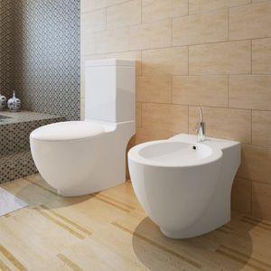 Chunhe Wand-WC Toilette Tiefspül-Stand-WC Tiefspüler Toilette mit WC-Sitz Badezimmer & Bidet Set Weiß Keramik