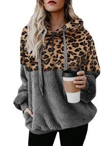 Winter Fuzzy Fleece Sweater für Damen Plus Size Teddy Bear Hooded Tops mit Taschen,Farbe:Grau, Größe:L