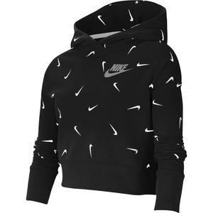 Nike G Nsw Crop Hoodie Aop Black/White/Lt Smoke Grey S