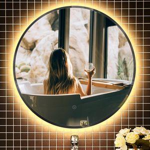 Badspiegel mit LED |Wasserdichter Nebel Badspiegel | Warmes Licht 24w |60*60*4.5cm-OV