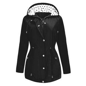 Plus Size Outdoor wasserdicht leichte Regenjacke Kapuze Regenmantel Damenmantel Größe:5XL,Farbe:Schwarz