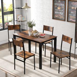 Merax Esstisch Küchentisch Esszimmergruppe mit 4 Stühlen, Esszimmertisch 180 x 65 x 75 cm Kaffeetisch für 4 Personen, Stahlgestell und Industrie-Design, Vintagebraun