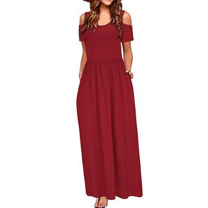 Frauen Sommer kalte Schulter Blumendruck Elegantes Maxi Langes Kleid Taschenkleid Größe:L,Farbe:Rot