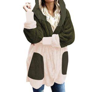 Lässige Leoparden-Taschen für Frauen Übergroßer Faux Fuzzy Hooded Outerwear Coat Größe:S,Farbe:Grün