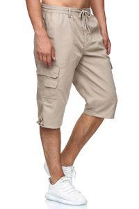 Herren Cargo Shorts Freizeit Hose 3/4 Schlupfhose Trekking Pants, Farben:Beige, Größe Shorts:XXL