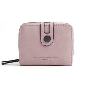 Damen Klein Kurz Leder Geldbeutel RFID Schutz Münzbörsen Geldbörsen Kartenetui Reißverschluss Hellrosa
