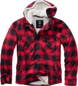 Brandit Lumber Check Shirt hooded mit Teddyfutter & Kapuze, Größe:L, Farbe:Rot-Schwarz
