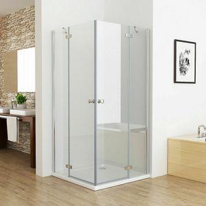 90 x 75 cm Duschkabine Eckeinstieg Duschwand Dusche Duschabtrennung ESG Glas JCP