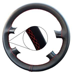 Lenkradhülle für VW T5 Naht rot Lenkradbezug LeCo® Echtleder Lenkrad Bezug