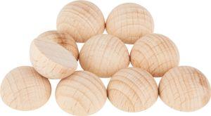 Holz-Halbkugeln ohne Bohrung, 10 Stück Ø 15 mm
