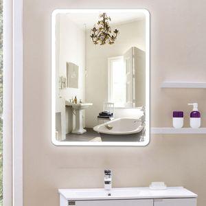 Badezimmerbeleuchtung Spiegel, Spiegel Touch-Schalter, Umweltschutz und Energieeinsparung, weiß 5050LED, abgerundete Ecken (50x70cm)