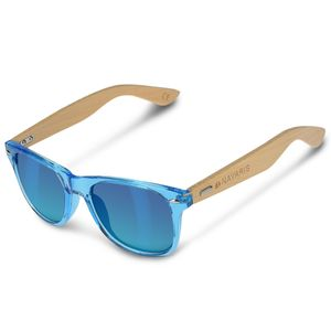 Navaris Holz Sonnenbrille UV400 - Uni Damen und Herren Brille mit Bambus Bügeln - Holzbrille mit Etui - unterschiedliche Farben