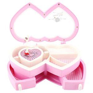 Mllaid Spieldose, mit transparentem Deckel Ballerina Spieluhr, 8.465.714.92In Doppelherz Spieluhr für kleine Mädchen Schmuckaufbewahrung