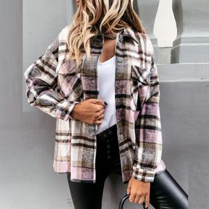 Damen Casual Fashion Wolle Plaid Shirt Tasche Langarm Jacke Größe:L,Farbe:Braun