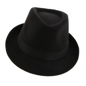 Retro Männer Frauen  Wolle Filz Trilby Bowler Fedora Panama Hut Gangster  - Schwarz Farbe Schwarz