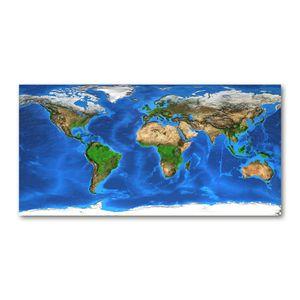 Tulup® Leinwandbild -100x50 cm - Wandkunst - Drucke auf Leinwand - Leinwanddruck  - Landkarten & Flaggen - Blau - Weltkarte