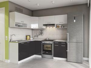 KÜCHE Lux 210 Cm Schwarz KÜCHENZEILE Küchenblock Einbauküche Komplettküche