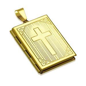 Edelstahl Anhänger Kreuz Bibel Medaillon Halskette Lederkette Kugelkette Damen Herren Autiga® gold-nur-anhänger