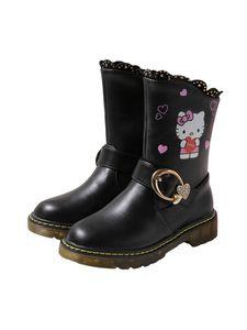 (Schwarzer Plüsch,36)Morydal Kinder Mädchen Cartoon Mittelrohr Stiefel Niedliche Kurze Stiefel Freizeitschuhe Runde Zehe