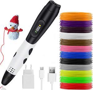 NightyNine 3D-PLA-Pens 3D Stifte Für Kinder, Intelligent 3D-Druck-Feder Mit 12 Farben PLA Filament, 3D-Zeichnung Pen Mit LCD-Bildschirm, 3D-Druck-Feder Kreativen DIY Urlaub, Geschenke,  Weiß