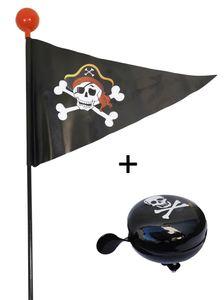 Pirat Fahrradwimpel + Fahrradklingel Fahrradglocke Fahrrad Fahne Flagge Wimpel