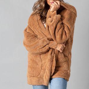 Damen Faux-Fur Shaggy Wintermantel Langarm Open Front Outwear Hooded Jacket Größe:XL,Farbe:Gelb