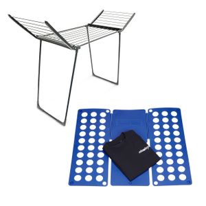 relaxdays 2er Haushalts Set Faltbrett Wäschefalthilfe Wäschständer Standtrockner klappbar