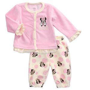 Disney Baby Minnie Mouse Velours Set Shirt Hose rosa 68 (3-6 Monate)